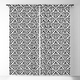 Scroll Damask Pattern Black on White Blackout Curtain