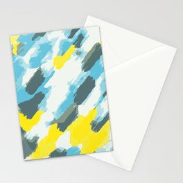 blue grey and yellow painting abstract background Stationery Cards