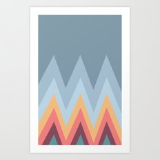 Retro Mountains Art Print