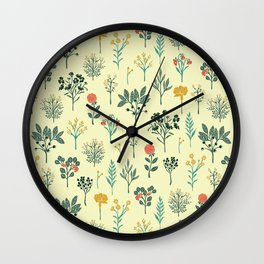 Dainty Yellow, Red, Teal & Cream Floral Pattern Wall Clock