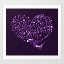 Breast Cancer Awareness Heart Art Print