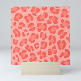 Leopard - Living Coral Mini Art Print