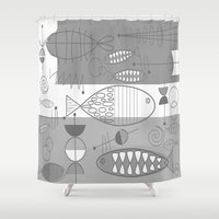mid century modern Shower Curtains featuring Mid-Century Modern Fish by Kippygirl