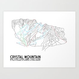 Crystal Mountain, WA - Minimalist Trail Maps Art Print