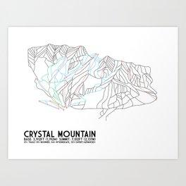 Crystal Mountain, WA - Minimalist Trail Maps Art Print