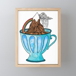 Tea Cup Mountain | Watercolor Illustration Framed Mini Art Print