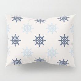 Nautical Blue Ships Wheel Pattern Pillow Sham