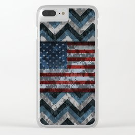 Blue Military Digital Camo Pattern with American Flag Clear iPhone Case