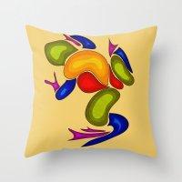 frog Throw Pillows featuring Frog by Aleksandra Mikolajczak