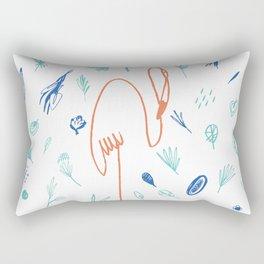 hand drawn cartoon flamingo Rectangular Pillow