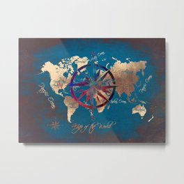 world map wind rose 7 #worldmap #map Metal Print