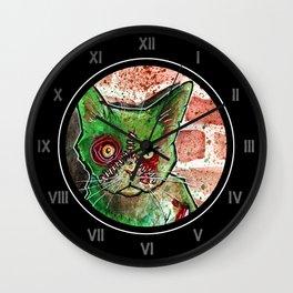 Mean Green Cute Zombie Cat Wall Clock