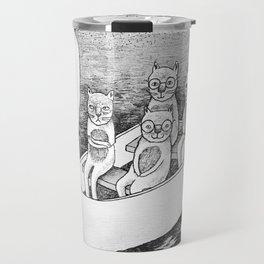 4 cats on a boat Travel Mug