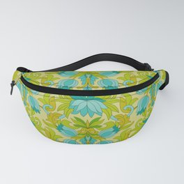 Turquoise and Green Leaves 1960s Retro Vintage Pattern Fanny Pack