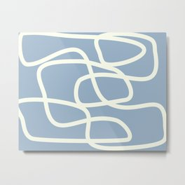 Maze in Gray Blue Metal Print