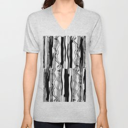 pattern white black vertical lines abstract simple scandinavian style grunge texture Unisex V-Neck
