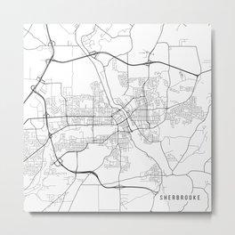 Sherbrooke Map, Canada - Black and White Metal Print