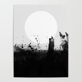 Abstract Watercolor Prints Black White Wall Art Minimalist Brushstrokes Circle Splatter Minimal Boho Poster