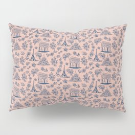 Paris Mauve Pink + Navy Pattern with Roses Pillow Sham