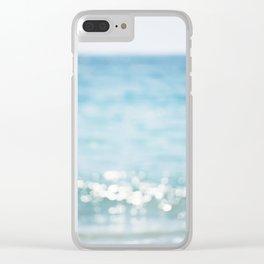 Beach Ocean Photography Art, Blue Coastal Photo, Aqua Seascape Photograph, Waves Art Clear iPhone Case
