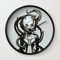 carnage Wall Clocks featuring The Flower of Carnage by Giulio Rossi