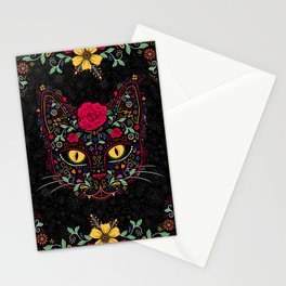 Day of the Dead Kitty Cat Sugar Skull Stationery Cards