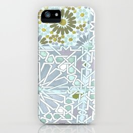 Blue moroccan pattern iPhone Case