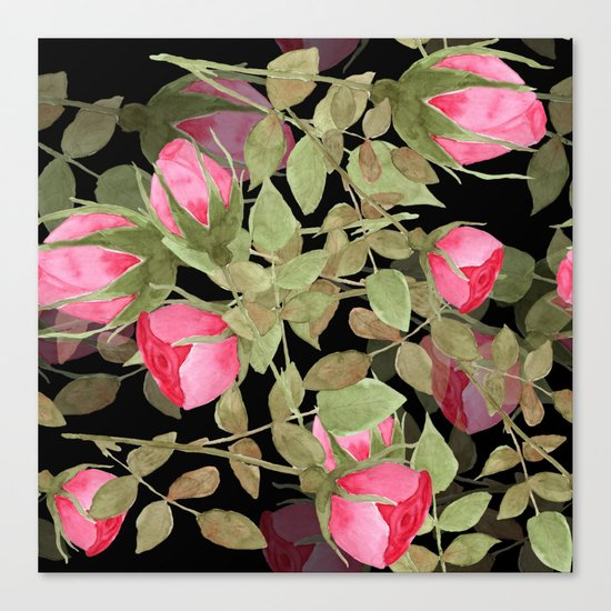 The buds of tender roses on a black background . Retro . Canvas Print