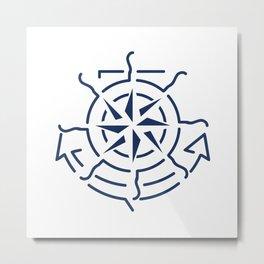 Nautical minimal lineart symbols combination Metal Print