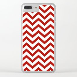 Simple Chevron Pattern - Red & White - Mix & Match with Simplicity of life Clear iPhone Case