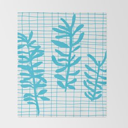 Grid Sprig - aqua blue Throw Blanket