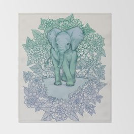 Emerald Elephant in the Lilac Evening Throw Blanket