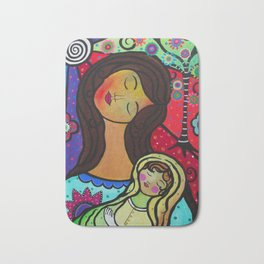 Abstract Mother and Child Painting by Prisarts Bath Mat