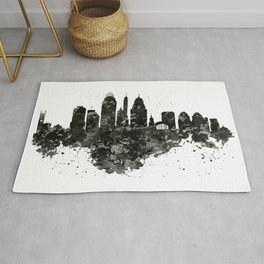 Cincinnati Skyline Black and White Rug