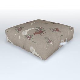 Moose and Mountains Pattern Outdoor Floor Cushion