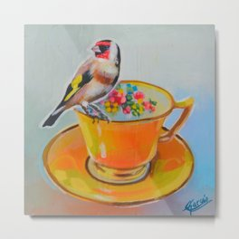 goldfinch and yellow tea cup Metal Print