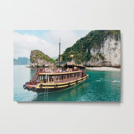Vietnamese Boat in Halong Bay Metal Print