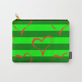 Hearts and green stripes Carry-All Pouch