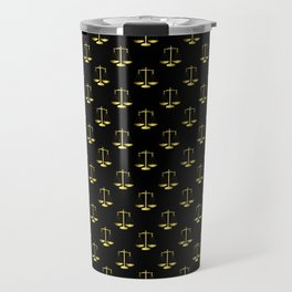 Gold Scales Of Justice on Black Repeat Pattern Travel Mug