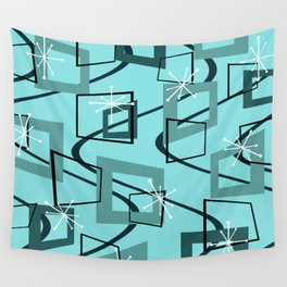Mid Century Modern Minimalism Turquoise Wall Tapestry