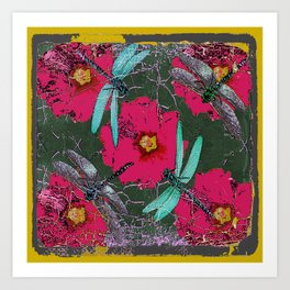 SHABBY CHIC BLUE DRAGONFLIES ON  FUCHSIA HOLLYHOCK FLOWERS Art Print