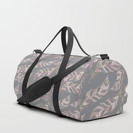 Blush Pink Feather Boho Pattern Duffle Bag