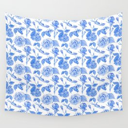 Blue Roses Watercolor Wall Tapestry