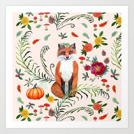 Fall Fox floral with fircones, berries and red mushrooms Art Print