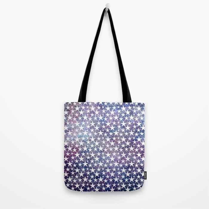 White stars on bold grunge blue background Tote Bag