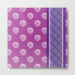 Purple and pink scribble flower dot pattern Metal Print