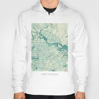 vintage map Hoodies featuring Amsterdam Map Blue Vintage by City Art Posters