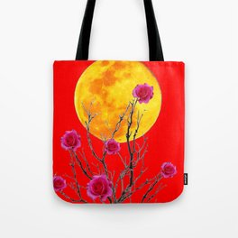 RED SURREAL FULL MOON & PINK WINTER ROSES Tote Bag