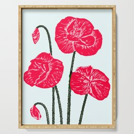 Poppies against blue ground Serving Tray