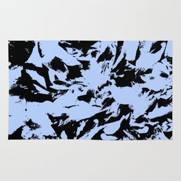 Blue Black Pattern Military Camouflage Rug
